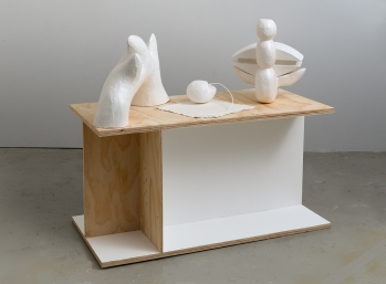 Ghost Sculptures - carved, modelled, constructed.' 120 x 120 x 60 cms. Stone, plaster, concrete, wood, lead, brass, fabric, paint. Photo: Peter White/FXP