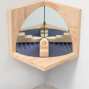 'Through The Porthole' 2017 36 x 36 x 36 cms. Wood, Mirror,Plastic. Photo: Peter White/FXP