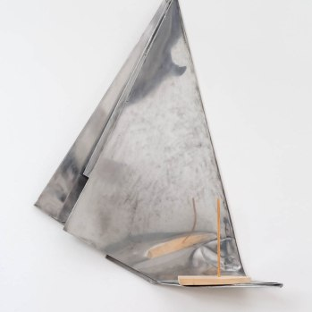 'Mirror Dinghy' 2017 75 x 60 x 20 cms. Wood, Aluminium. Photo: Peter White