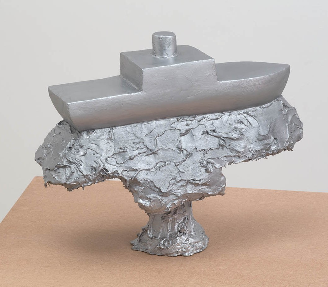 'Refracted Boat' 2018 40 x 50 x 20 cms. Body Filler, Silver Bronze. Photo: Peter White/FXP